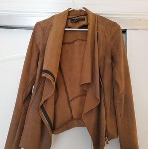 ZARA Drape Front Jacket, Sz XS, Soft Suede